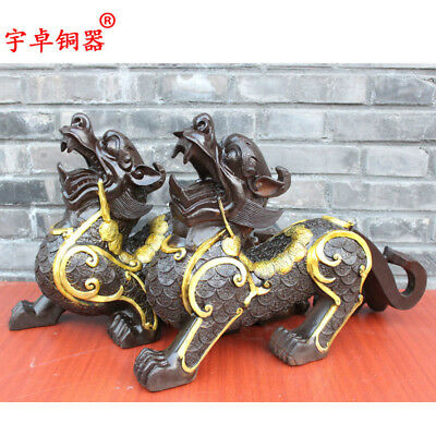 "19"" A pair China antique bronze copper beast kylin unicorn Statues Collection"