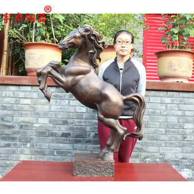 "39"" China old antique bronze Standing Zodiac Horse Statues Collection"