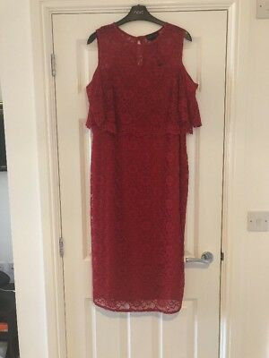 Bnwt Next Red Lace Cold Shoulder Maternity Midi Dress Size 14 Rrp £58!