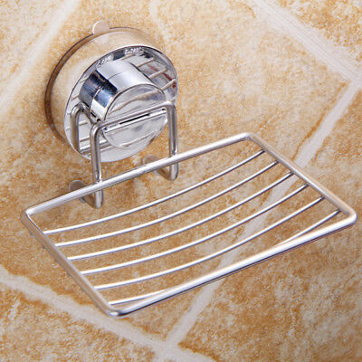 Wall Soap Dish Holder Suction Bathroom Shower Stainless Steel Soap Dishes Tray