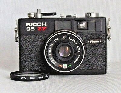 Ricoh 35 Zf Rare Black Compact 35Mm Film Camera + Filter .good Work Cond (Used)