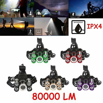 80000 LM 5-LED Zoom LED Rechargeable 18650 Headlamp Head Light Torch Charger MY