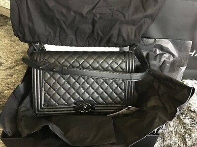 f2de2c37f614 Auth Chanel New Medium/Large Le Boy So Black Limited Rare Flap Shoulder
