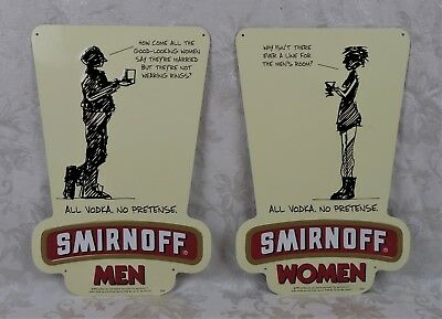 Pair of Rare Vintage 1999 Smirnoff Vodka Advertising Restroom Signs