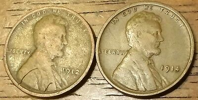 1912 1914 LINCOLN WHEAT CENT PENNY Good to Very Fine