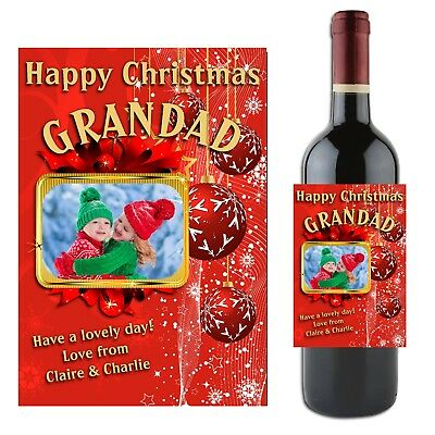 Personalised CHRISTMAS Wine Champagne Bottle Label N3 Gift Idea for him her