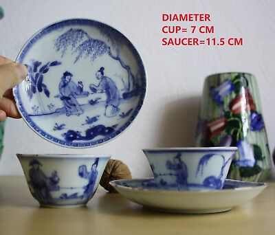 pair CHINESE B&W PORCELAIN CUP SAUCER 18 th C. GARDEN SCENE