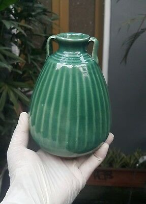 Large antique chinese blue green celadon jarlet with two ears
