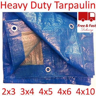 5 Sizes of Heavy Duty Tarpaulin Blue Waterproof Strong Cover Ground Sheet Tarp