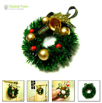 1/12 Doll House Miniature Christmas Door Wreath Garland Bell Ornament Home Decor
