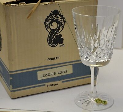 "Waterford Crystal Lismore 6 7/8"" Water Goblet NEW UNUSED Vintage Orig Sticker"