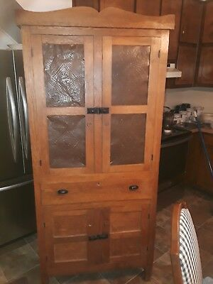 Antique Oak Pie Safe With Punched Tin Panels