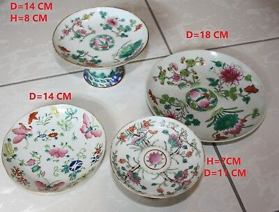 4 CHINESE FAMILLE ROSE PORCELAIN (HIGH FOOT) DISHES 19 th C.