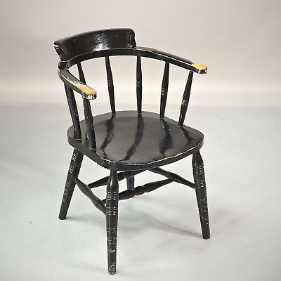 Antique Captain's Chair - Late 19thC - Elm & Beech - Black (delivery £40)