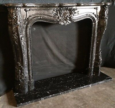 Black FRENCH MANTEL - HAND CARVED MARBLE – DEEP DETAILED CARVING