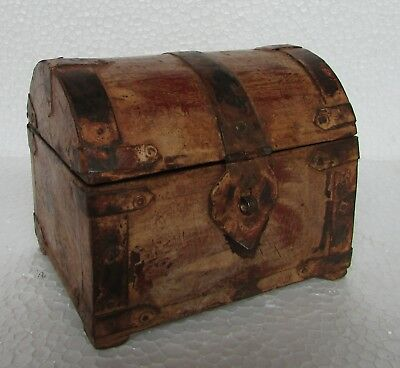 Vintage Old Collectible Hand Carved Iron Fitted Unique Shape Jewellery Box