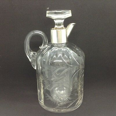 Antique Sterling Silver Chester 1898 Collared Decanter/Claret Jug