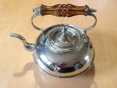 Vintage Brass Teapot Kettle With Amber Glass Handle Raised on Four Feet Antique