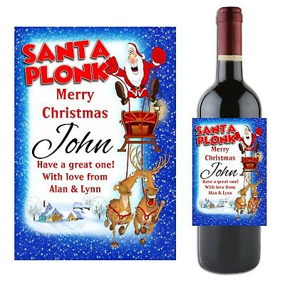 Personalised CHRISTMAS Wine Champagne Bottle Label N19 Gift Idea for him her