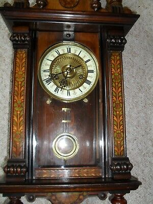 Extremely Attractive Miniature Antique Vienna Wall Clock.