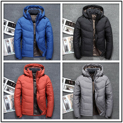 Men Winter Warm Duck Down Jacket Thick Hooded Youngster Outdoor Coat Parka Nice