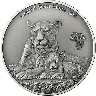 Kamerun 1000 Francs 2018 Leopard Silver Ounce Antique Finisch 1 Oz Silbermünze