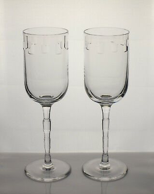 """Rare!!  Pair Of Signed Nick Munro """"eclipse"""" Tyrone Crystal Wine Glasses 24.5Cm"""
