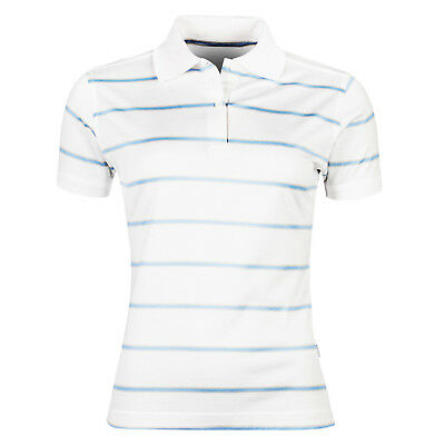 New Ladies Polo Shirt Striped Short Sleeve Womens Casual 100% Cotton Jersey Top