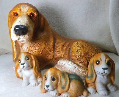 dog figurine basset hound, beagle mom with pup's ceramic with cloth bed included