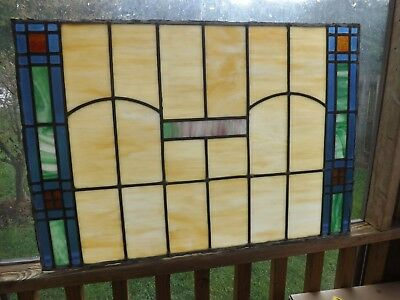 Antique Vintage Leaded Stained Glass Window Slag Arts and Crafts Modern Salvage