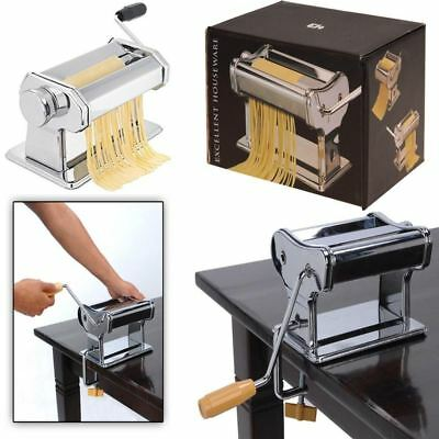 Stainless Steel Chrome Lasagne Pasta Machine Cutter Cutting Roller & Trimmer NEW