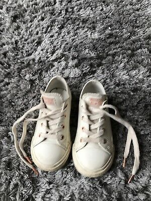 Girls Converse Trainers Cream And Rose Gold Size Infant 9