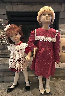 Pair Of Vintage Girl Store Mannequins Including Wigs, Clothing & Shoes