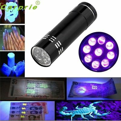 Super Mini Aluminum Uv Ultra Violet 9 Led Flashlight Blacklight Torch Light Lamp