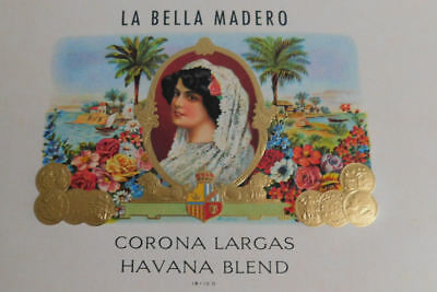 25 Vintage La Bella Madero Cigar Box Labels.. Beautiful woman Image..