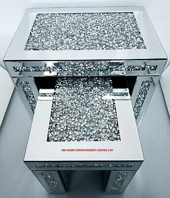 Nest Of 2 Tables Diamond Crush Crystal Sparkly Silver Mirrored Bevelled