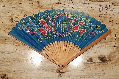 Vintage Japanese Hand Painted Folding Bamboo Wooden Hand Fan Floral Design