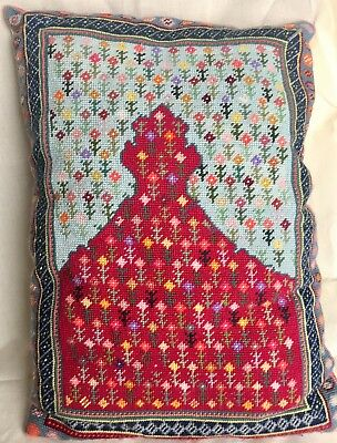 Vintage Hand-Stitched Needlepoint Cushion Of Persian Rug Design