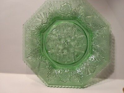 Beehive and Thistle -  3 Antique Green Octagonal Dessert Plates