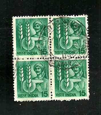USED BLOCK OF 4 INDIA 1980 FARMING DEFINITIVE STAMPS - 4 x 15NP - FARMER & CORN