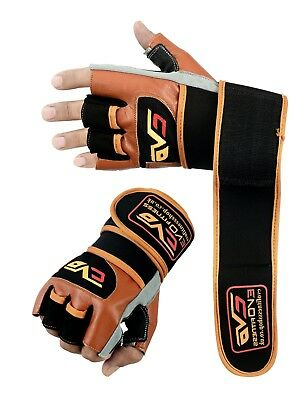 EVO Fitness Leather Weightlifting Gym Cycling Glove Wheelchair Wrist Wraps Strap