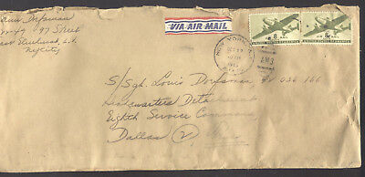 WW2 Letter 1945 - NYC to Dallas, TX - Air Mail Stamped Envelope & 12 Letters!
