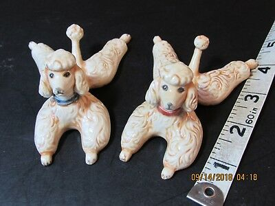 """2 Porcelain  Stretched out  Poodles 4"""" by 2""""By 2'' pink & Blue collar"""