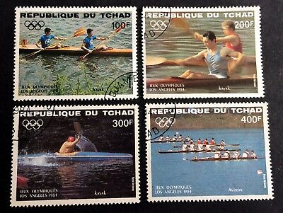 Olympic Summer Games 1984 in Los Angeles USA - 4 nice canceled stamps Tchad
