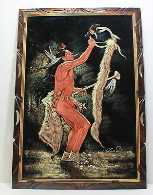 Luis D.- Original Signed- Native American- Black Velvet Painting- Artwork