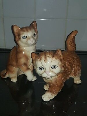Two Vintage Melba Ware Ginger Cats
