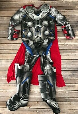 Kids Boys Muscle Chest Thor Halloween Costume Large 8-10 Years Top Bottom Cape