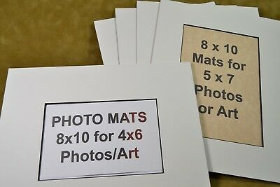 5 Pack 8x10 Photo Mats For 5x7 Or 4x6 Photos Ivory With Black Core