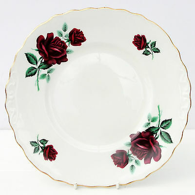 Vintage Crown Royal Bone China Cake Plate Dark Red Roses Floral