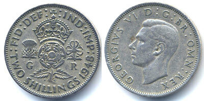 GREAT BRITAIN 1948 2 Two SHILLING Very Nice coin
